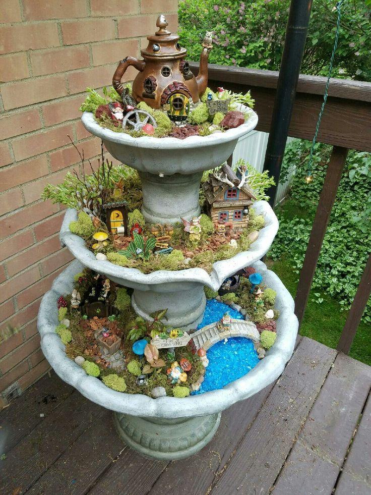 Fountain Fairy Garden Gardening Go Fairy Garden Pinterest