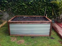 Raised Galvanized Steel Planter box that Peter built. Easy ...