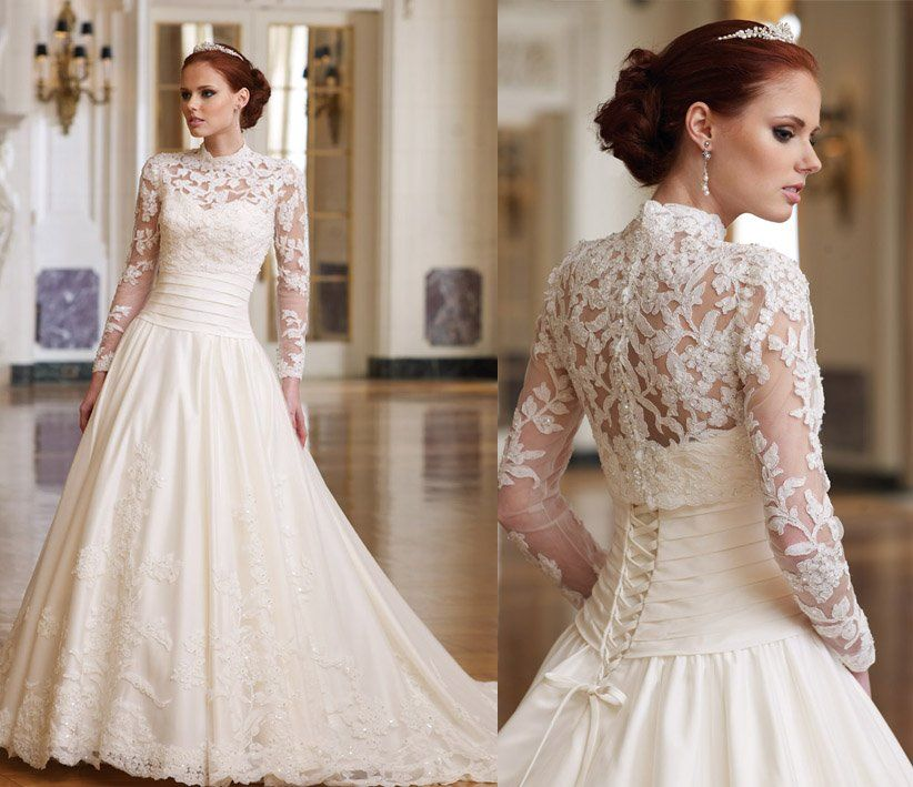 Sweetheart A line Strapless 2011 Bridal Gown Lace Long Sleeve Corset Design Wedding Dressin