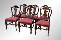 SOLD Set of Six Mahogany Duncan Phyfe Shield Back Dining ...