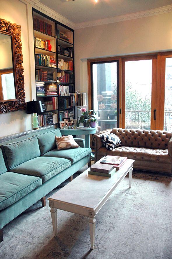 Little Green Notebook  Living Room with teal velvet sofa