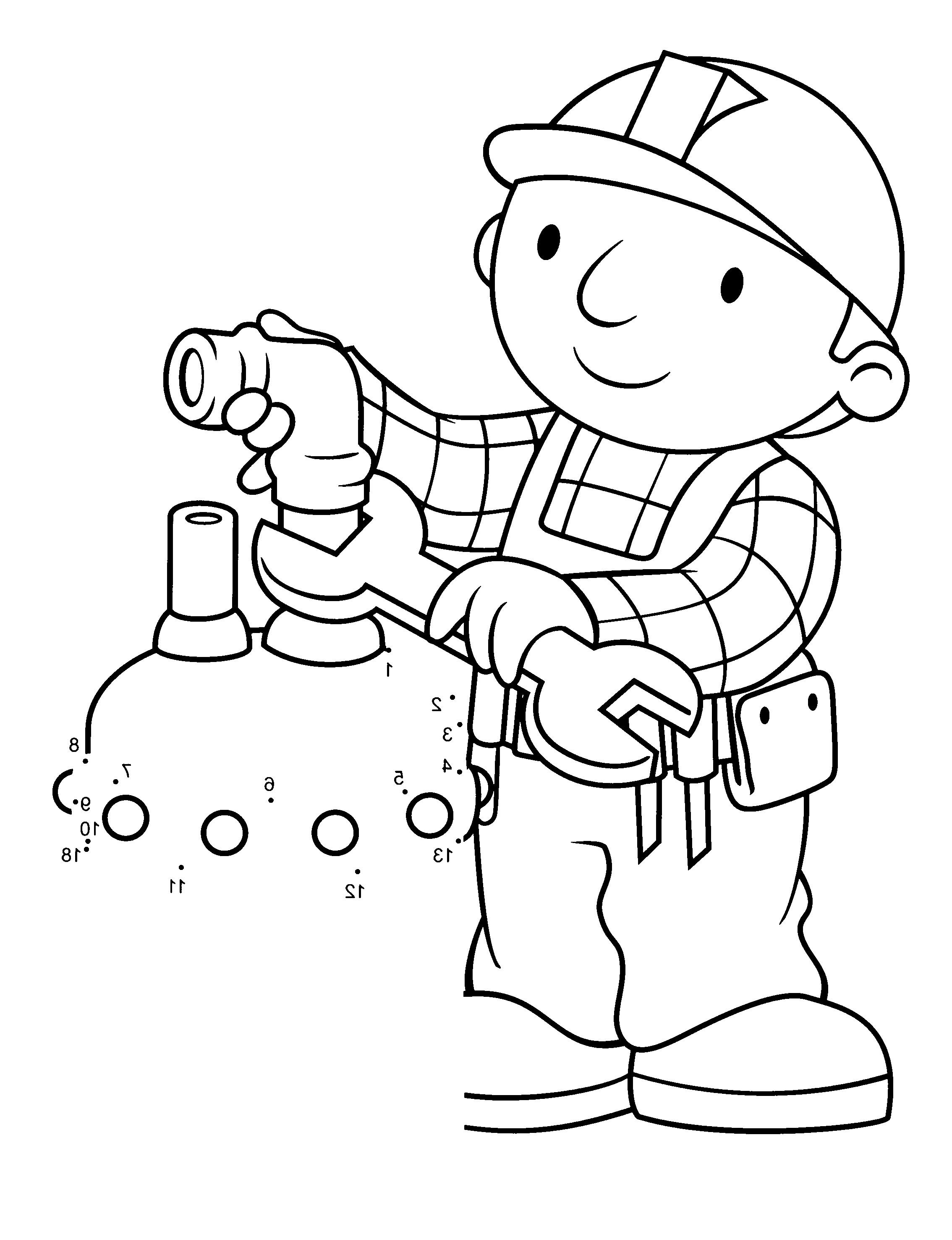 Bob The Builder Fix The Tap Water Coloring For Kids