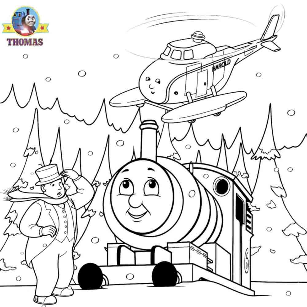 Thomas The Tank Engine and Harold Helicopter Coloring