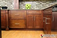 Sleek transitional style kitchen...warm wood finish. Love