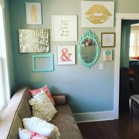 Instagram gallery wall in peach teal and gold glitter ...
