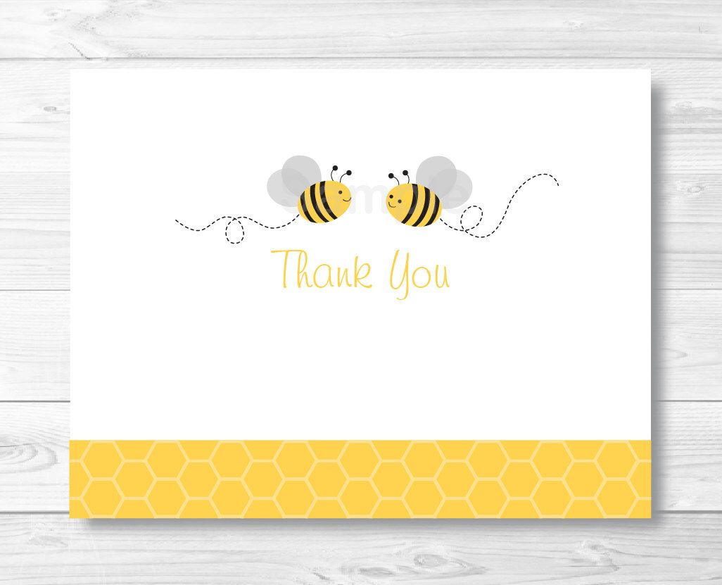 Bumble Bee Thank You Card Template Folded Card Template