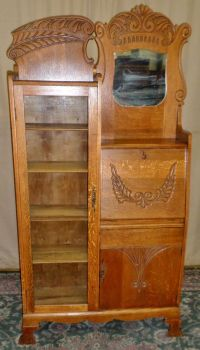 ANTIQUE Oak Side by Side Slant Front Desk, Bookcase ...
