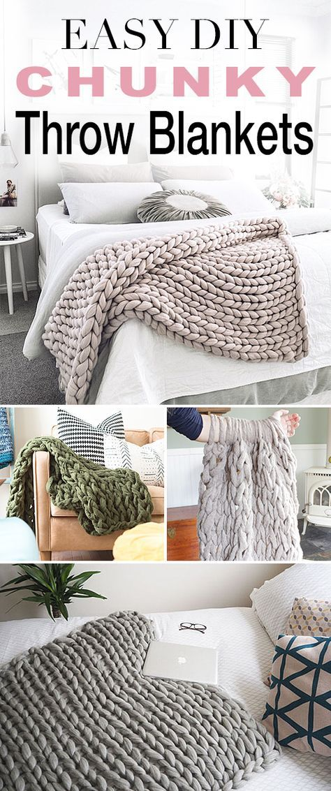 Easy DIY Chunky Throw Blankets! • See how affordable and easy these are to make yourself with these great tutorials and DIY