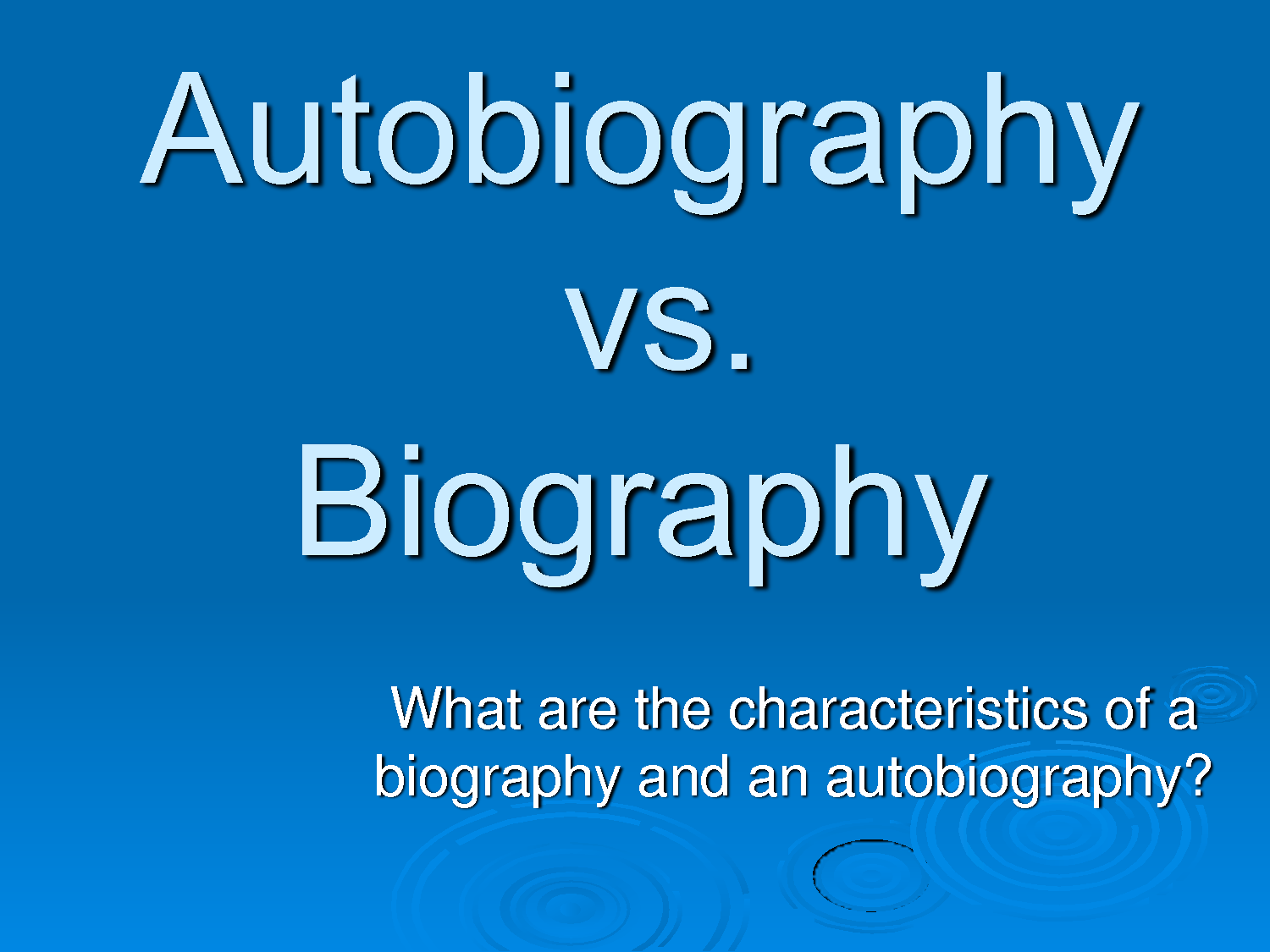 Exploring Elements Of Biography And Autobiography Lesson