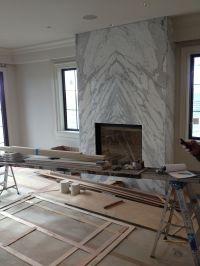 contemporary slab stone fireplace, calacutta carrara