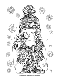 Winter Coloring Page: Girl Drinking Hot Chocolate | Free ...