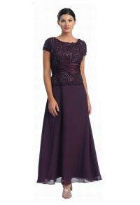 Dark purple eggplant plus size mother of the bride dresses ...