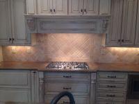 backsplash, tumbled marble, travertine, herringbone | Tile ...