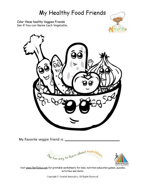 Healthy Foods Coloring Page For Young Children (will use