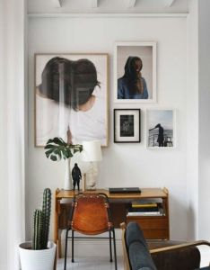 Home office with great cactus leather chair and art love the desk too also pin by bri connolly on  vision pinterest spaces chairs rh