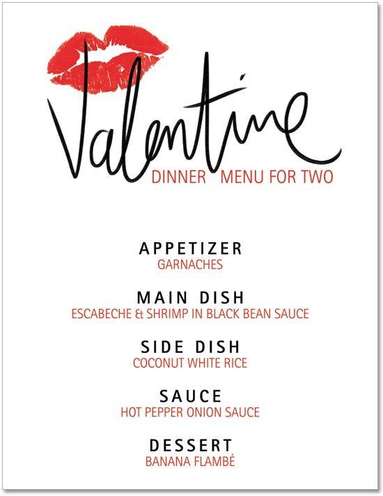 Blank Valentine Menu  Printable Valentines Day Dinner
