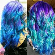 two tone purple blue ombre dyed