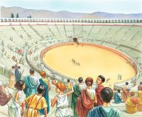 """""""The Colosseum begins to fill up for the start of the day ..."""