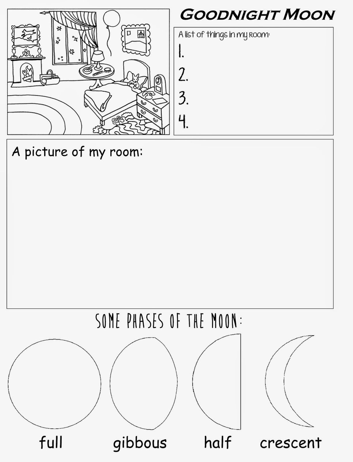 Goodnight moon free printable Worksheet for preschool