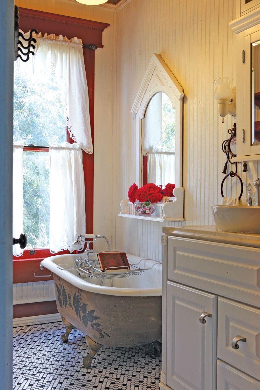 Victorian farmhouse bath- Victorian Home Magazine