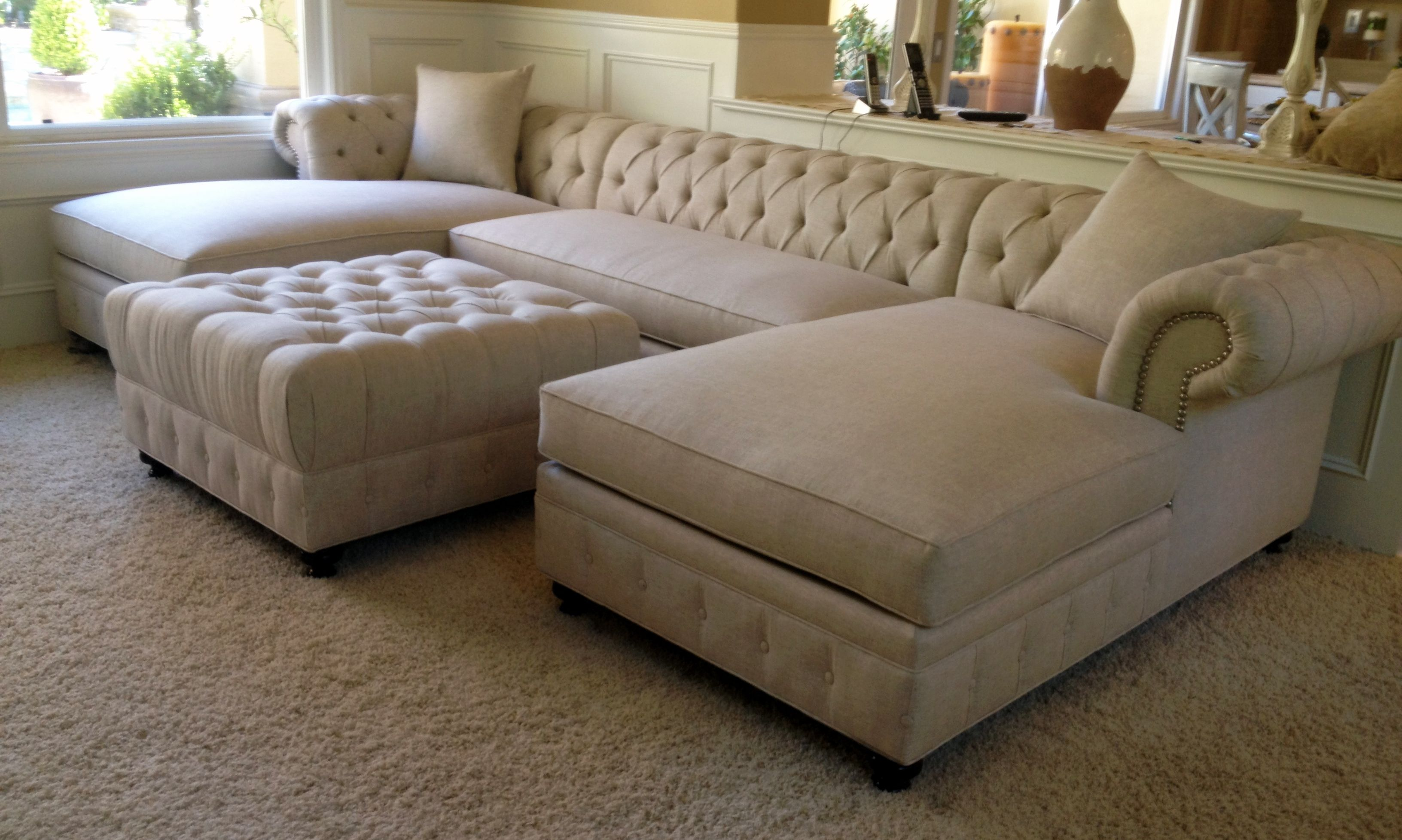 chesterfield style fabric sofa durable kenzie custom or sectional