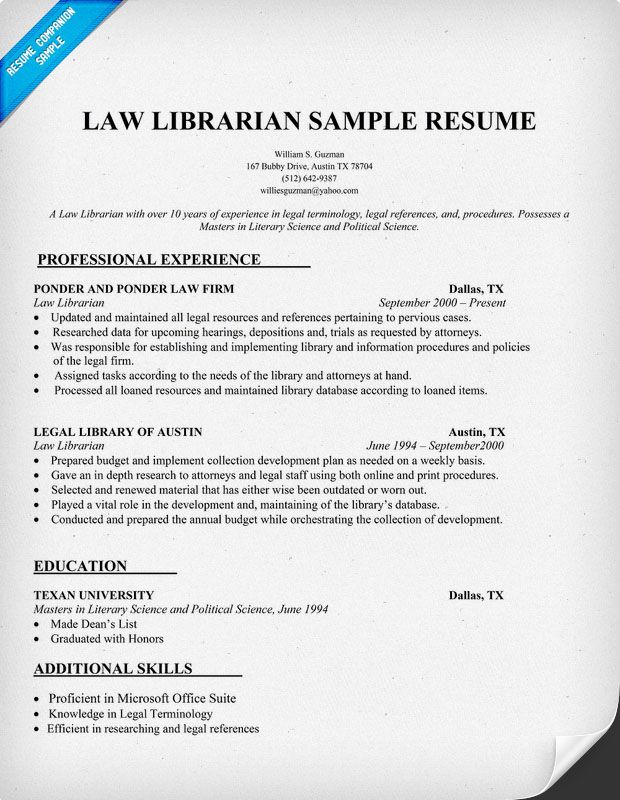Law Librarian Resume Sample Resumecompanion Com Resume