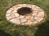 in-ground fire pit made from flagstone and pavers   Really ...