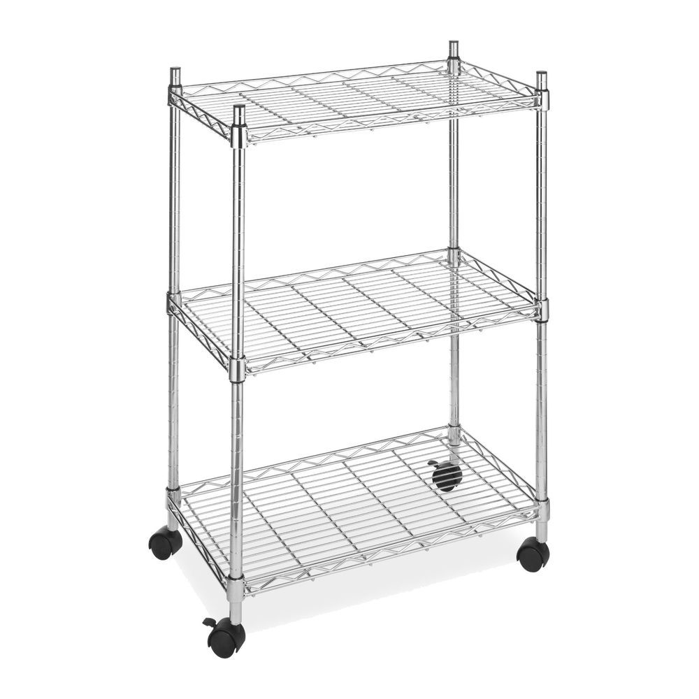 3Tier Wire Utility Cart Rolling Shelving Storage Rack