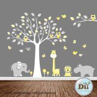 Yellow and Gray Jungle Animal Vinyl Tree Decal - Baby Wall ...