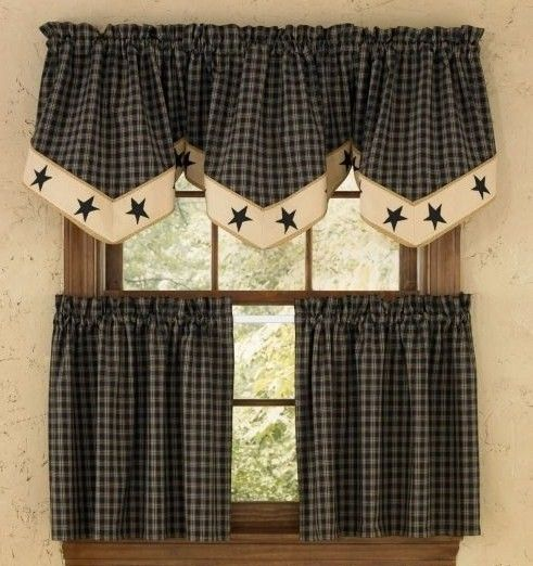 "Country Kitchen Curtains Sturbridge Star Black Plaid 24"" Tier"