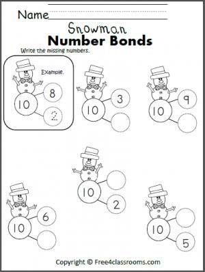 Free Snowman Number Bonds to 10. Winter math activity
