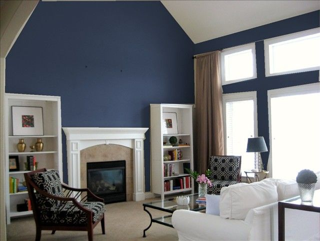 Dark Blue Accent Wall Sherwin Williams  Living Room