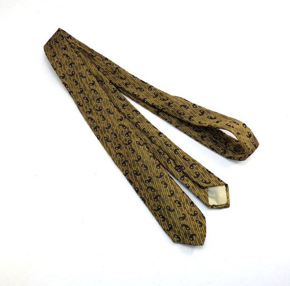 Wembley Gold and Black Skinny Tie 1950s by