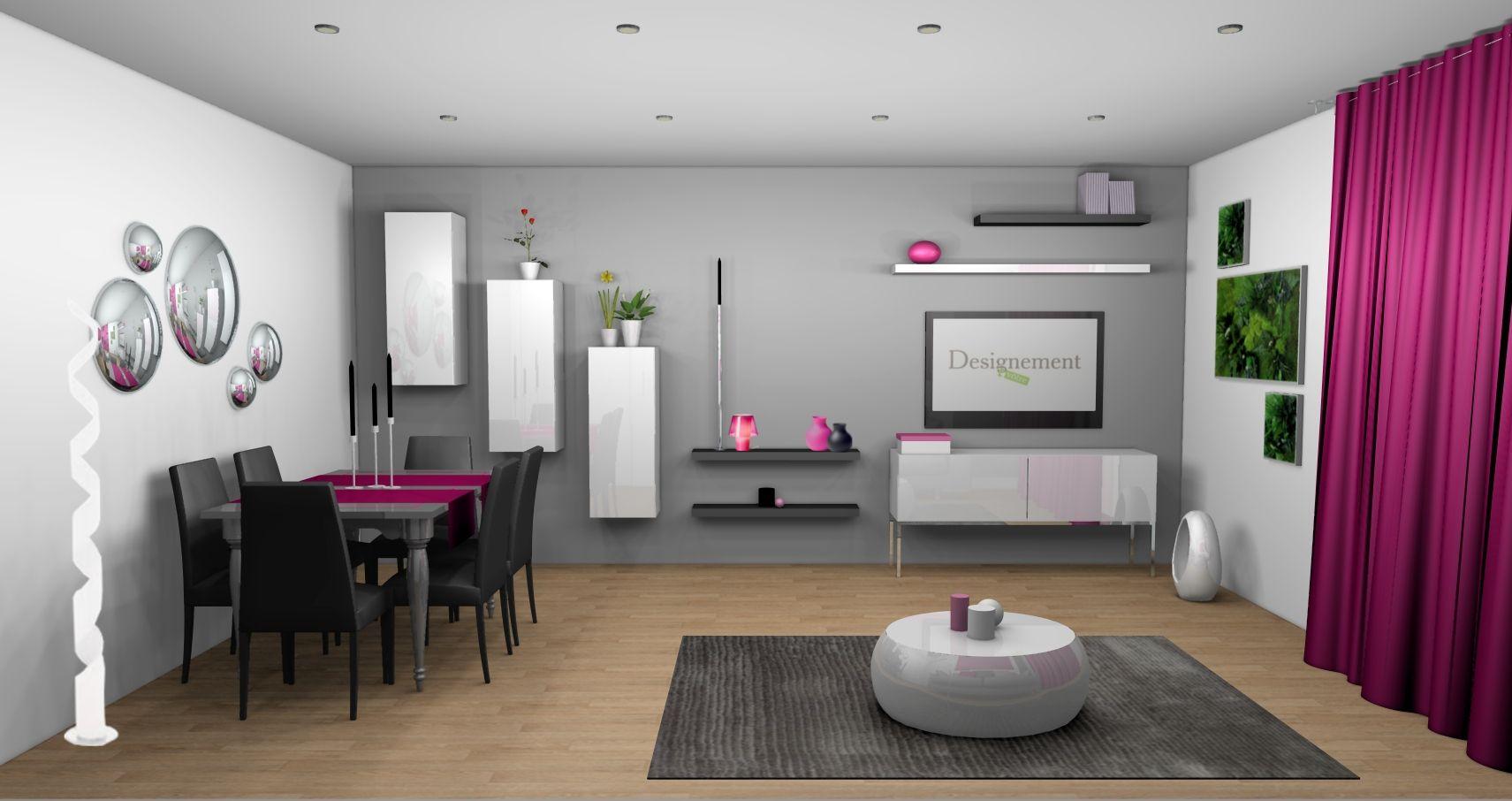Dco salon mr gris et blanc touche de couleur fushia  Living room  Pinterest  Salons