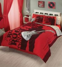 New Teens Boys & Girls Bedding RED ROCKER GUITAR COMFORTER