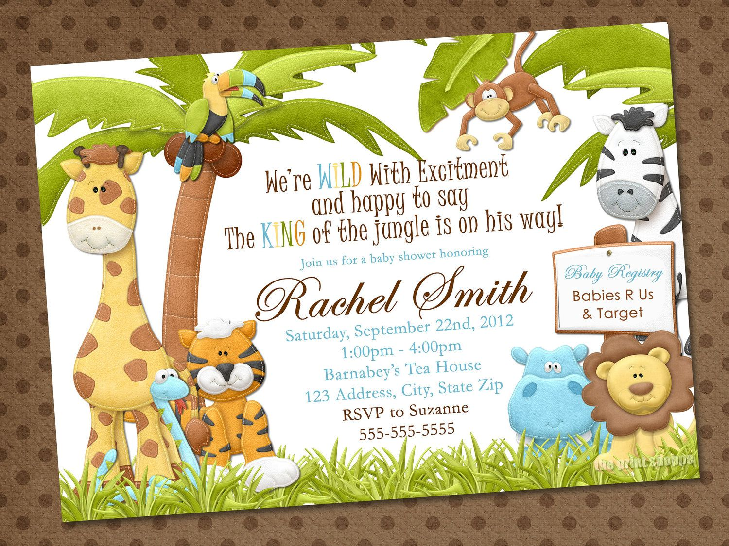 Safari Invitation Baby Themed Templates Shower