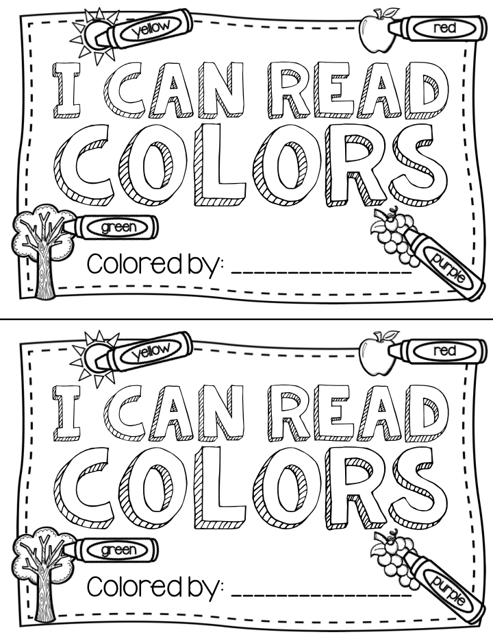 A free printable color words book that kindergarten kids