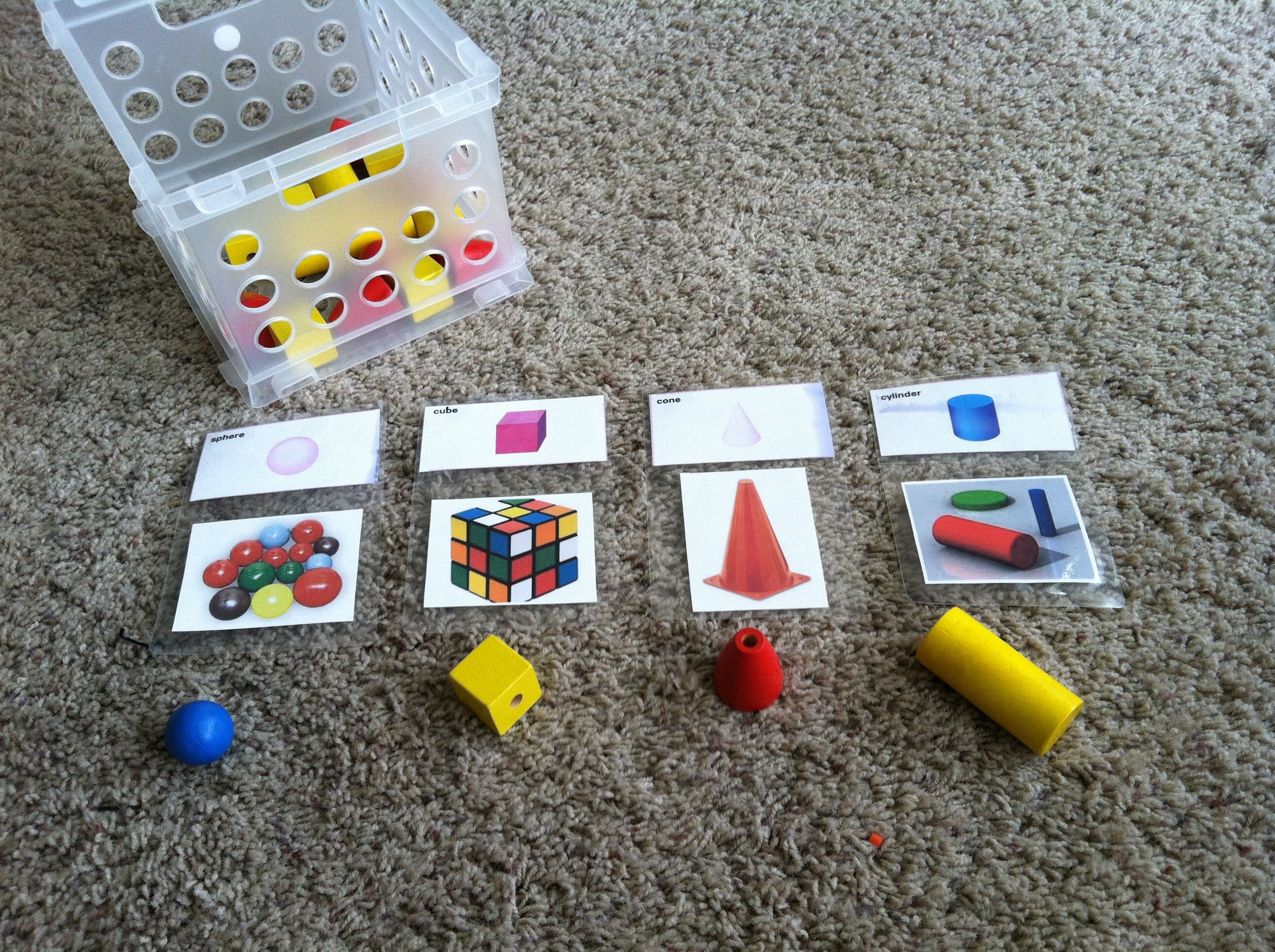 Simple 3d Shape Sorting With Homemade Flashcard Visuals