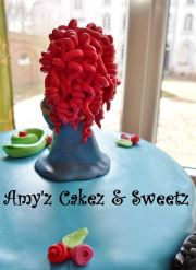 brave cake red curly hair fondant