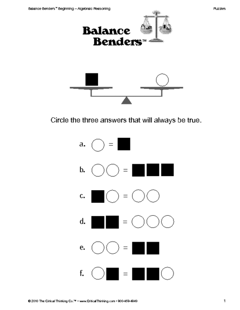 K-2 Worksheet: Balance Benders http://www.educationworld