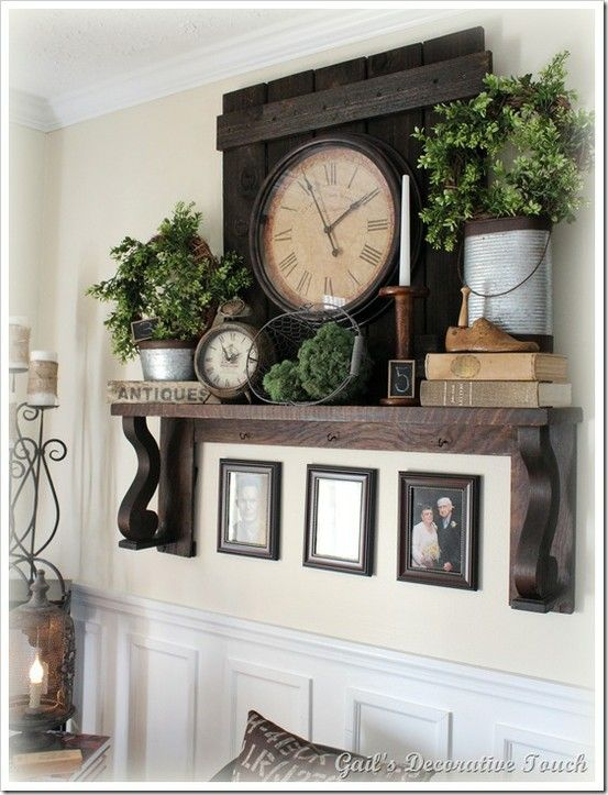 Decorating also mantel without fireplace love the wood behind clock for rh pinterest