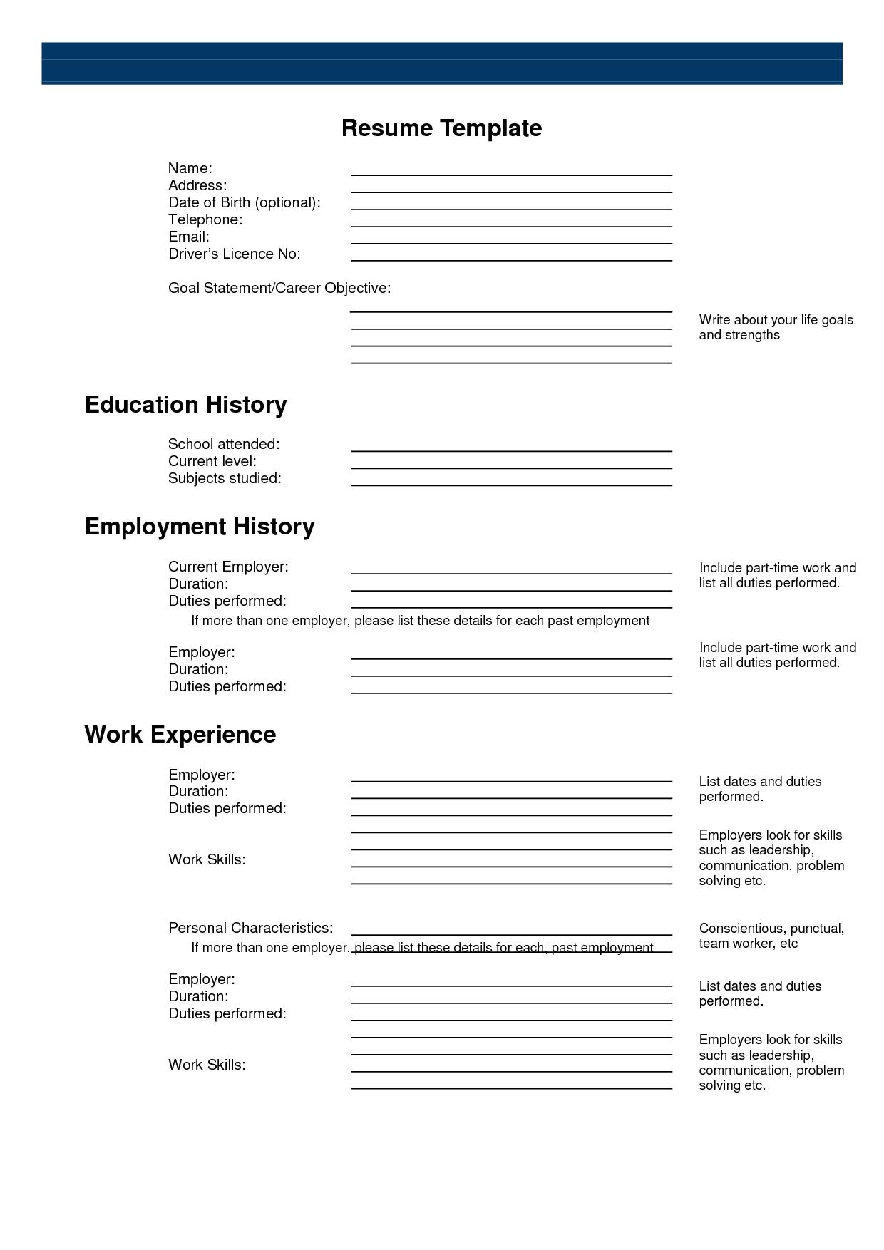 Free Printable Sample Resume Templates Resumecareer