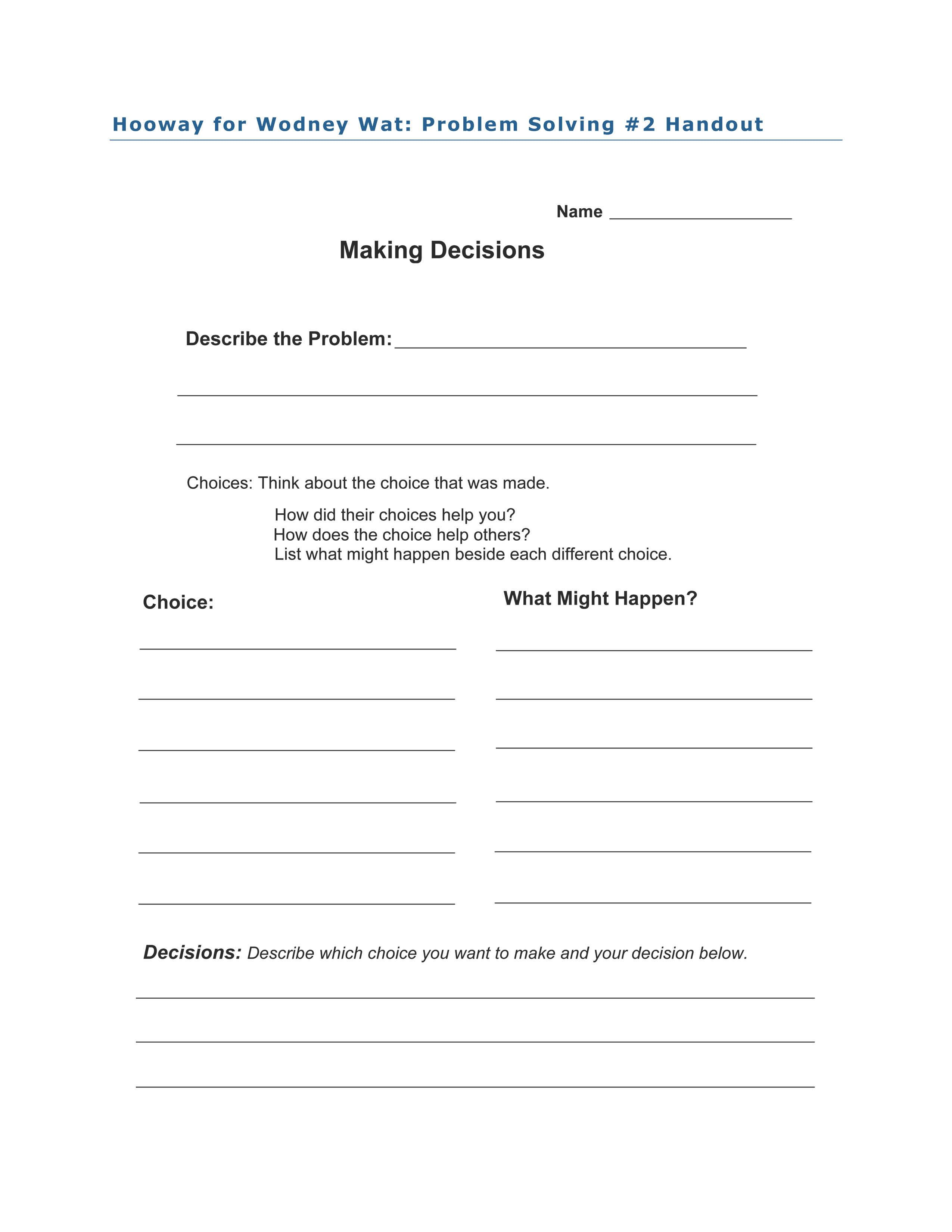 Problem Solving 2 Activity For Hooway For Wodney Wat By