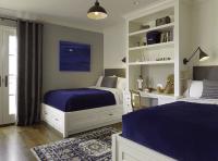 Adorable boys' bedroom design with built-in desk ...
