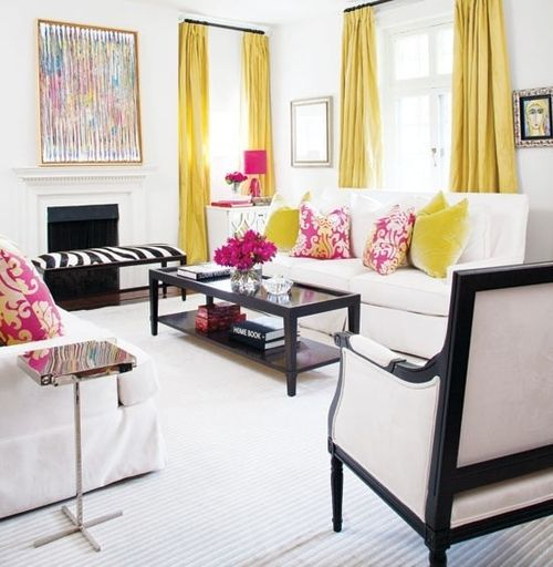 Love these pops of color in  black and white room not crazy about the pink yellow pillows but curtains paired with is also chic living pictures photos images for facebook tumblr rh pinterest