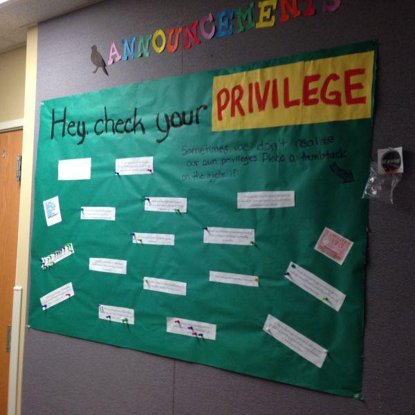 """hey Check Privilege"" Nemerov 3 Ra Bulletin Board"