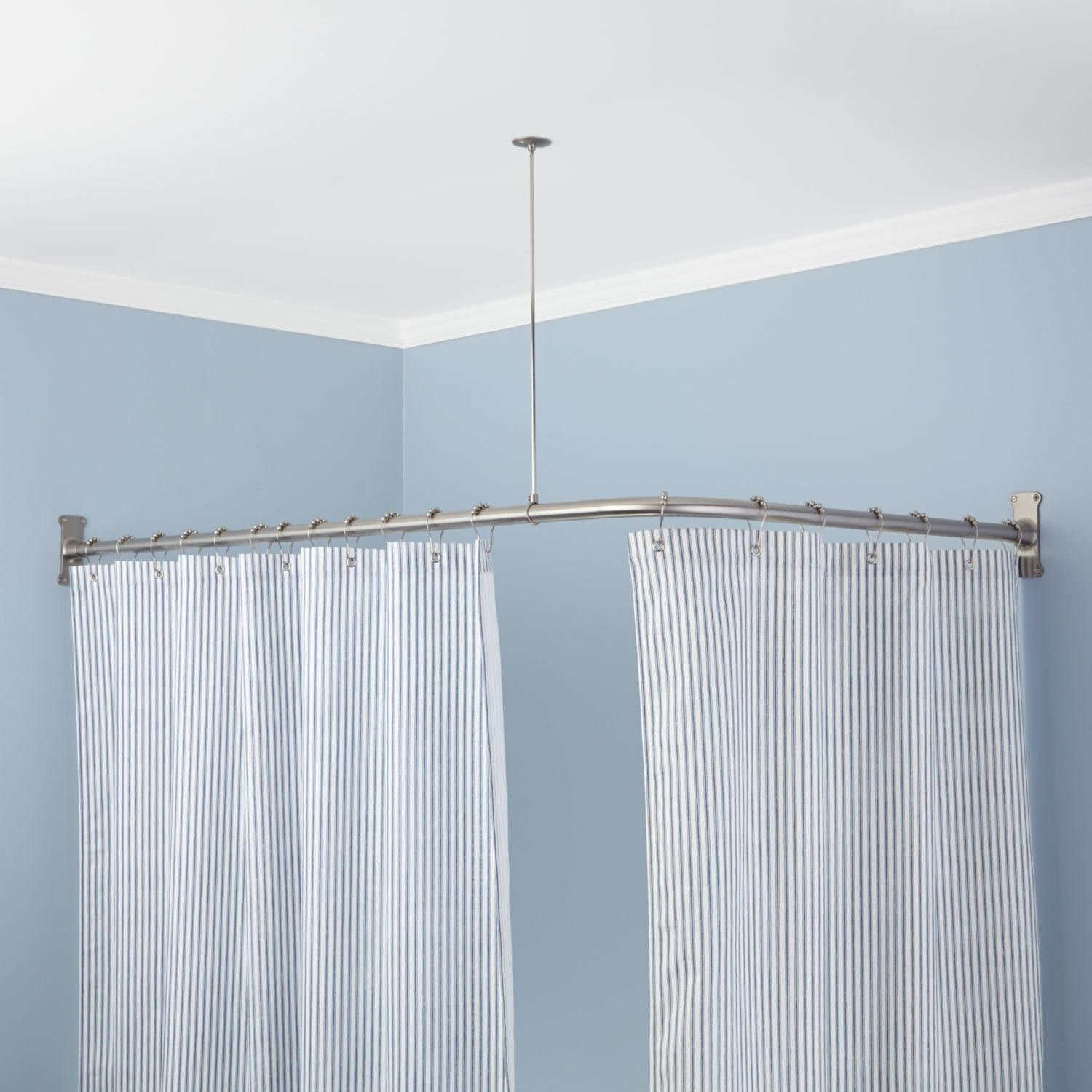ExtraHeavy Corner Shower Curtain Rod in powder black