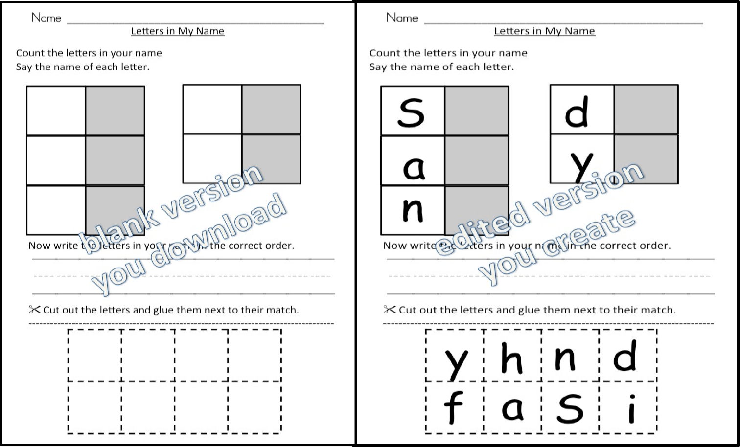 Name Activities With Letter Matching