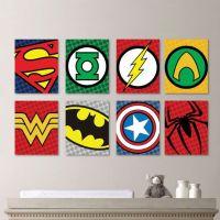 Superhero Logo Print Set - Superhero Wall Art Nursery Boy ...