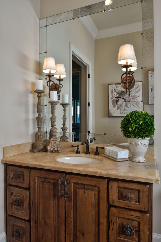 Tuscan Style Bathroom Old World Feel Antiqued Mirror Travertine